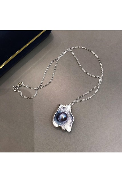 necklace silver shell pearl