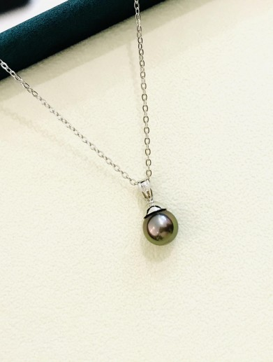 "necklace silver tahiti pearl "" little atoll"""